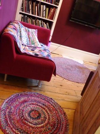 Plaited kids tights rug in library doorway